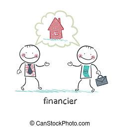 maison, sur, homme, financier, conversation
