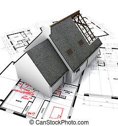 maison, sur, modèles, à, manuscrit, corrections