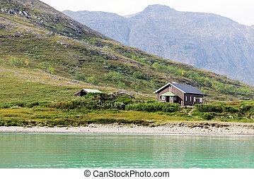 maison, sur, montagne, dans, norvège