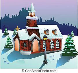 maison, sur, neige, vecteur