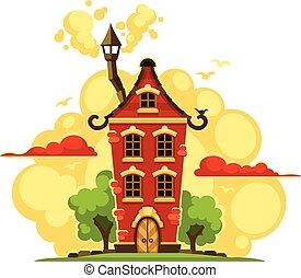 maison, sur, nuages, coucher soleil, fée-conte