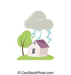 maison, sur, orage, isolé, fond, blanc, fort