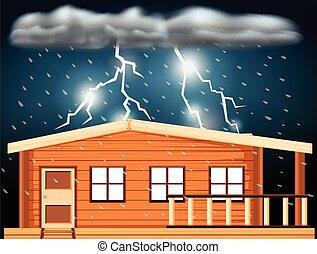 maison, sur, scène, orages