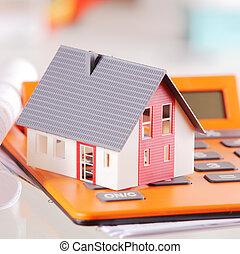 maison, surmontez, miniature, fin, calculatrice