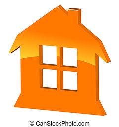 maison, symbole, 3d