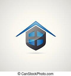 maison, symbole, bouclier, logo