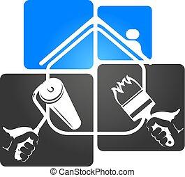 maison, symbole, brosse, rouleau
