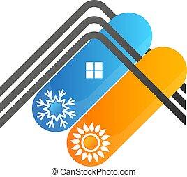 maison, symbole, conditionnement, toit, air