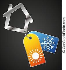 maison, symbole, froid, chaleur