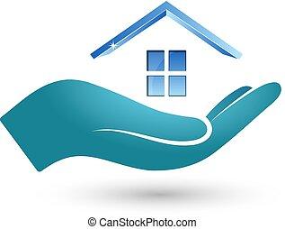 maison, symbole, main