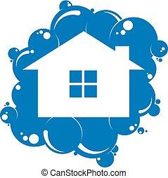 maison, symbole, nettoyage