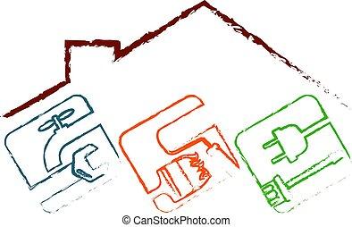 maison, symbole, outillage, réparation