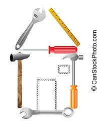 maison, symbole, outils, vecteur, fait