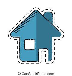 maison, symbole, page, dessin animé, toile