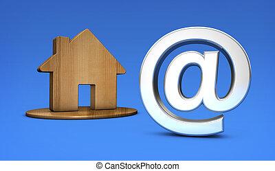 maison, symbole, propriété, icône, ligne
