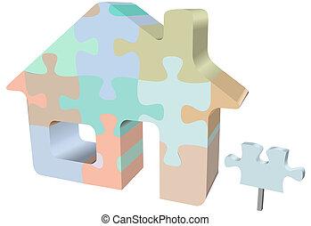 maison, symbole, puzzle, signe, maison, puzzle