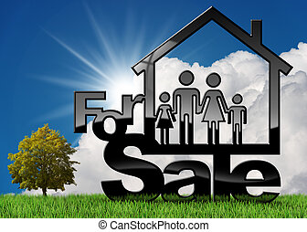 maison, symbole, vente, famille