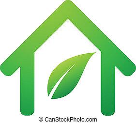 maison, symbole, vert, gentil