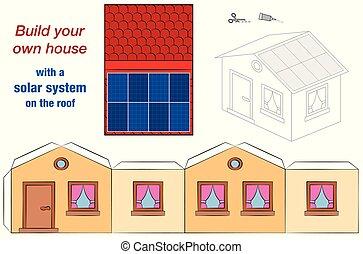 maison, système solaire, toit, gabarit