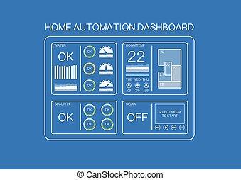 maison, tableau bord, intelligent, automation
