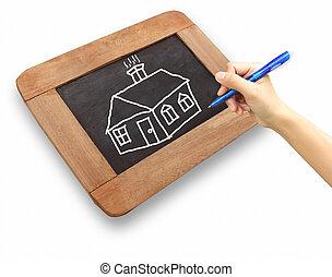 maison, tableau, dessin