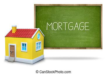 maison, tableau noir, 3d, hypothèque, texte