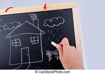 maison, tableau noir, dessin, main