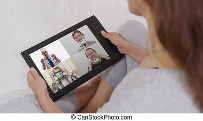 maison, technologie, appeler, collègues, utilisation, femme, visioconférence, vidéo, offices.