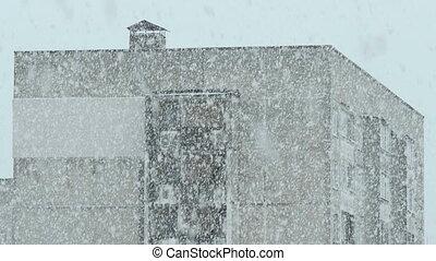 maison, tempête neige