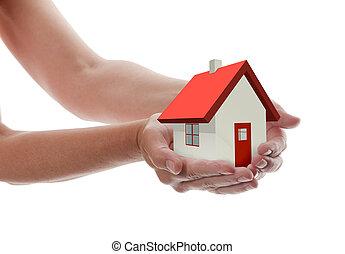 maison, -, tenant mains