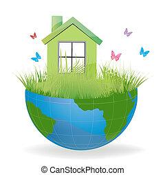 maison, terre verte, moitié