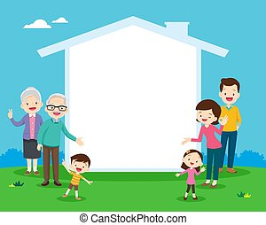 maison, texte, ton, icône, famille