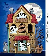 maison, thème, 2, hanté, fantômes