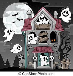 maison, thème, hanté, 4, fantômes