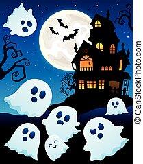maison, thème, hanté, fantômes, 6
