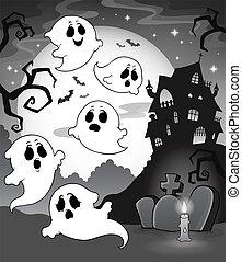 maison, thème, hanté, fantômes, 7