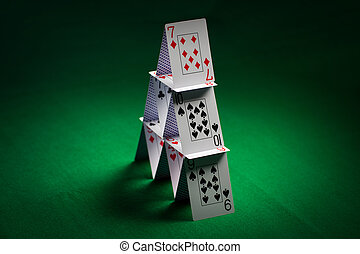 maison, tissu, vert, cartes, table, jouer