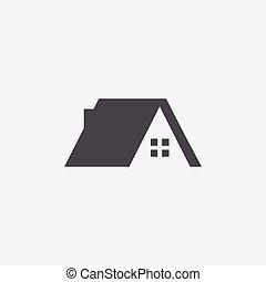 maison, toit, icône