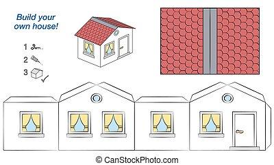 maison, toit, murs, papier, gabarit, modèle, blanc rouge