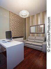 maison, -, travertin, bureau, confortable