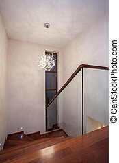 maison, -, travertin, escalier