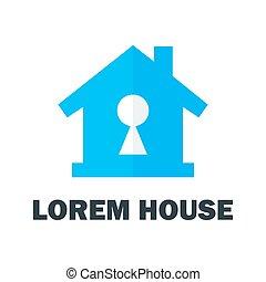 maison, trou, clã©, logo