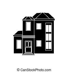 maison, urbain, coûteux, pictogramme
