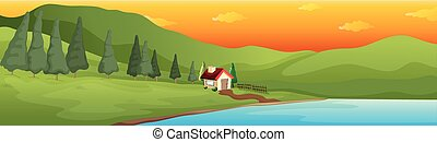 maison, vallée, lac, grand