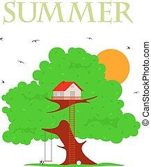 maison, vecteur, arbre, illustration