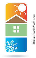maison, vecteur, conditionnement, air