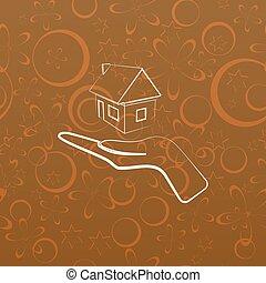 maison, vecteur, contour, icône, main