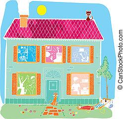 maison, vecteur, dessin animé, illustration, maison