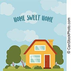 maison, vecteur, doux, card., illustration.