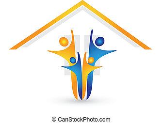 maison, vecteur, famille heureuse, logo
